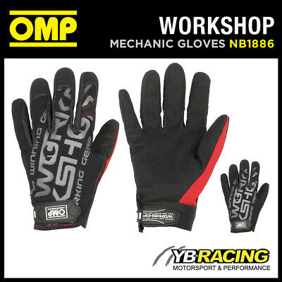 Nb/1886 Omp Professional Workshop Mechanic Gloves Leather Inserts Race Pit Crew