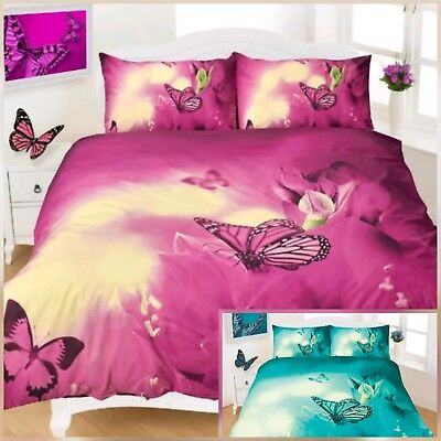 Super Qaulity 3D Butterfly Brand New Teal/plum Pollycotton Duvet Quilt Cover Set