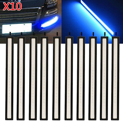10pcs 12V waterproof Blue DRL LED Strip Lights Bars Camping Caravan Boat Car COB
