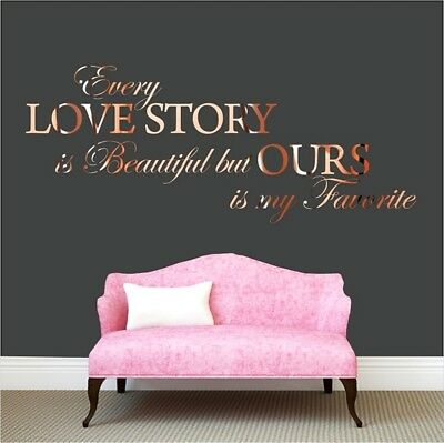 Every love story is Beautiful Wall Sticker Rose Gold Quote Bedroom Living room