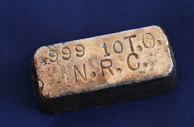 N.R.C. Poured Chunky Style Silver Ingot 10.33 Troy ounces .999 Fine Silver E2261