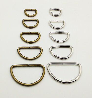 ANTIQUE Chrome Metal D Loop Ring Buckle for Bag Making Straps WEBBING CRAFT