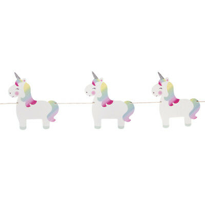 Wooden Rainbow Unicorn Bunting Garland Party Decoration Children's Girls Bedroom