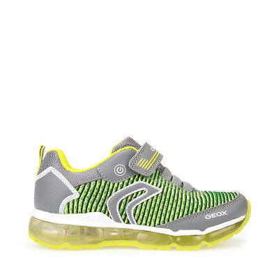 04e7bf3bb2cea2 GEOX Scarpe J bambini ragazzi ANDROID J8244A sneakers con luci in tela  Grey/Lime