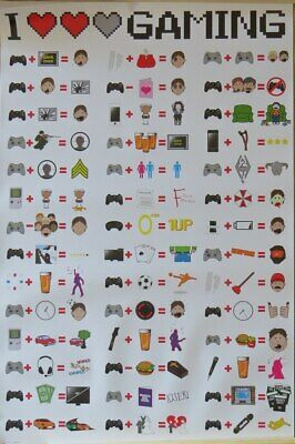 I Love Gaming- Icons- Poster-Laminated Available-91cm x 61cm-Brand New