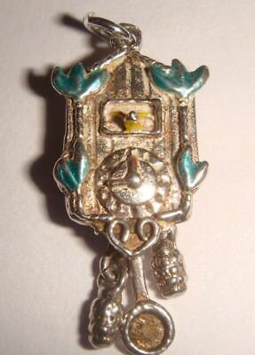 Vintage Silver Enameled Cuckoo Clock With Moving Weights And Pendulum Charm