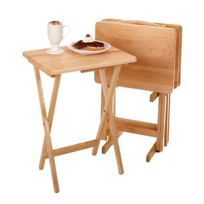 5PC TV TABLE Tray Set Wood Stand End Folding Portable Top Furniture ...