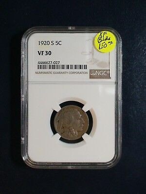 1920 S Buffalo Nickel NGC VF30 BETTER DATE 5C Coin PRICED TO SELL NOW!