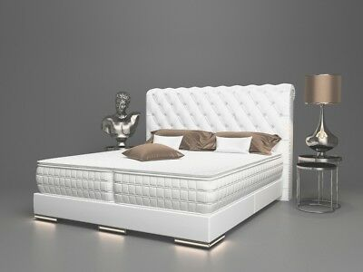 Baron Luxus Boxspringbett Chesterfield Led H3 Weiss 180x200 Cm