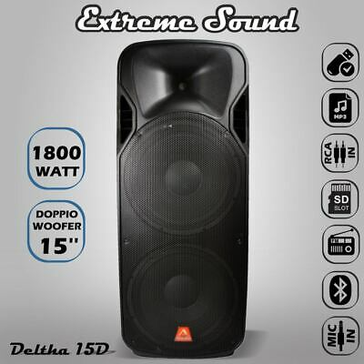 POTENTE CASSA AMPLIFICATA 1800 W 2 x WOOFER 38 Cm.Full Range BLUETOOTH-USB D-15D