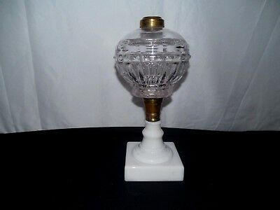 Antique Victorian Milk Glass Base Clear Font Oil Kerosene Lamp