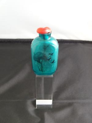 Antique Chinese Interior Painted Glass Snuff Bottle, Sea Green Tone, Circa 1900