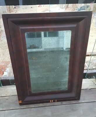 "XL ANTIQUE EARLY 1800'S, 31."" TALL, FEDERAL EMPIRE OGEE MIRROR W Great Patina"