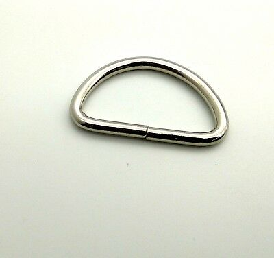 "19 mm 3/4"" D RING Loop Metal Nickel CHROME Handbag Rings Loops Belt WEBBING"