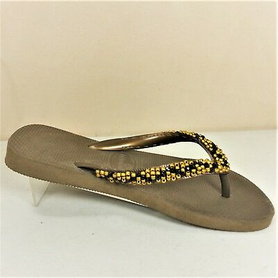 663178419271c8 Havaianas Top Flip Flop Bronze With Gold And Black Beads Size 6 US (37 38
