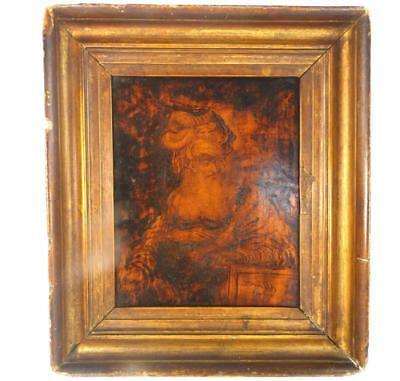 """C1817 Signed 'Smith"""" Pokerwork Wooden Panel Bearded Man Possibly A Saint"""