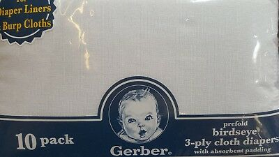 Gerber Birdseye 10 Count 3-Ply Prefold Cloth Diapers, White, Baby Burp Cloths