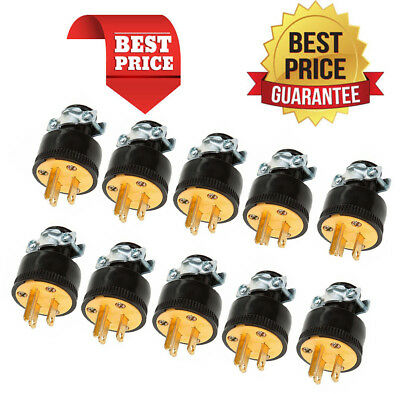 10 X Male Extension Cord Replacement Ends 15 Amp Electrical Power Plug Repair MA