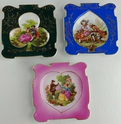 Vintage Chase Hand Painted Japan Decorative Playing Card Plates Victorian Lovers
