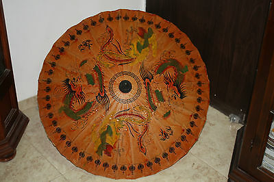 Oil Paper Umbrella Parasol Chinese Dragon Handmade Teak Leaf Bridal Bamboo 32""