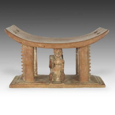 Vintage African Chief's Stool Carved Wood Ashanti Ghana W. Africa 20Th C.