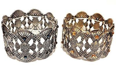 EGYPTIAN REVIVAL CUFF gold silver crystal stretch bracelet bangle Art Deco 6H