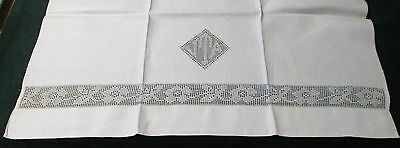 Antique French 5 Nubby Linen Towels Net Lace Bands & J T A Monograms Unused