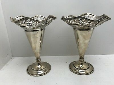 Gorgeous Pair Reticulated George Henckel Vases Sterling Silver!!