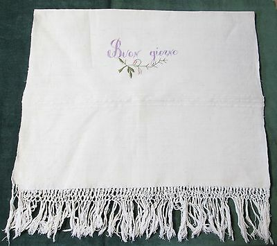 Antique Fringed Large Linen Bath Towel Embroidered Buon Giorno w/ Rose Buds