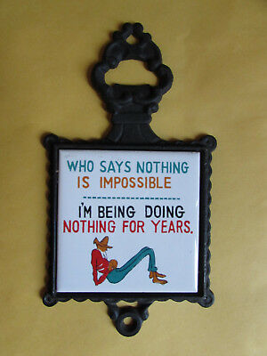 Comic Tile Japan Who Says Nothing is Impossible Tile in Iron Frame 1970's Unused