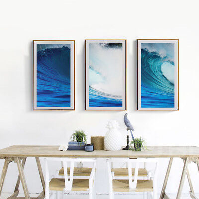 3Pcs Modern Art Oil Painting Canvas Picture Waves Wall Home Decor 40x80cm