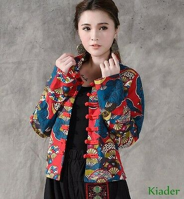 f56104912 New Chinese Style Cotton/Linen Outwear Embroidery Womens Jacket Floral Coat  Size