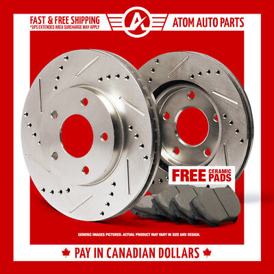 2006 2007 Mazda 3 2.3L w/o Turbo Slotted Drilled Rotor & Ceramic Pads Front