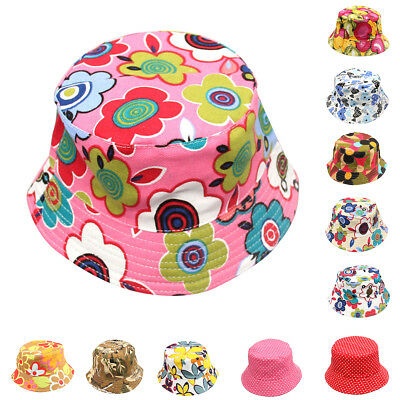 Girls Kids Baby Summer Toddler Outdoor Floral Bucket Hat Canvas Sun Cap Novelty