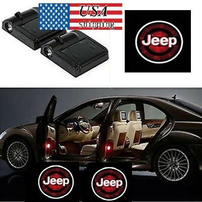 2x Jeep Logo WIRELESS Welcome LED CAR DOOR LOGO PROJECTORS LIGHTS USA SHIPPING