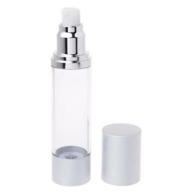 AIRLESS COSMETIC PUMP BOTTLE - SILVER - 50ml (12 bottles)