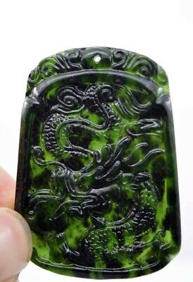 China fashion natural jade hand engraving lucky amulet dragon pendant necklace