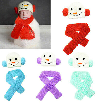 Newborn Baby Boy Girl Cute Crochet Knit Hat Scarf Prop Costume Photo Photography