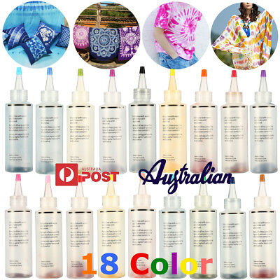 18Pcs Tulip One Step Tie Dye Kit Vibrant Fabric Textile Permanent Paint Color AU