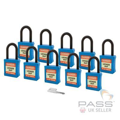 Lockout Insulated Padlock - NYLON Shackle - Key Alike (Blue Pack of 10)