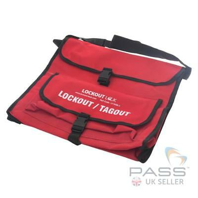 LOTO Red Shoulder Lockout Tagout Carrying Bag - Heavy-duty, Waterproof Nylon