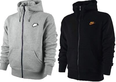 New Nike Mens Fleece Hoodie Hooded Jacket Sweatshirt Jumper Black Grey S M L XL