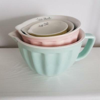 Set Of 4 Vintage Kitchen Chic n Shabby Pastel Ceramic Retro Measuring Cups