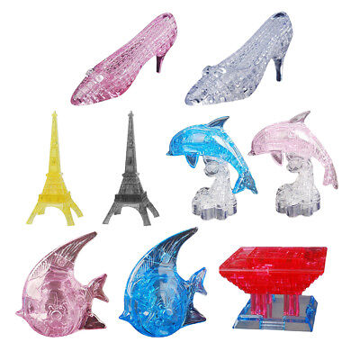 DIY 3D Crystal Puzzles Jigsaw Puzzles Tower/ Dolphin/ High Heel Shoes Model
