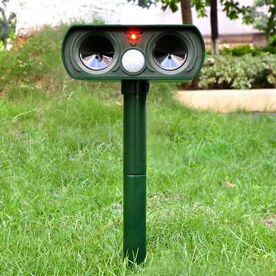 Outdoor Ultrasonic Solar Power Pest Animal Repeller Repellent Garden Cat Dog Fox