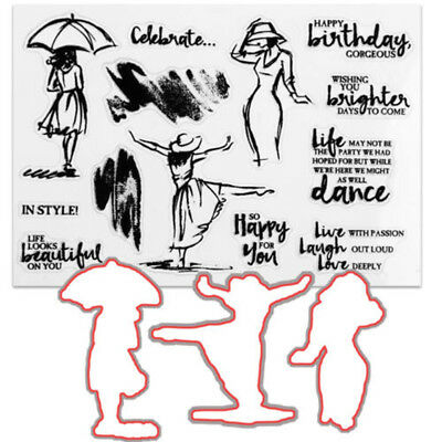 FT- Dancing Women Clear Stamps & Cutting Dies For DIY Scrapbooking Décor Unique