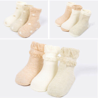 3 Pairs Cute Kids Baby Cotton Sock Newborn Boys Girls Casual Ankle Socks 1-3T