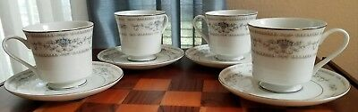 Vtg Wade Diane - (4) Footed Coffee Tea Cups Saucers - Fine Porcelain China Japan