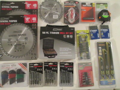 """Lot of 2 Tool Shop 10"""" Carbide Tipped Saw Blades + Misc. Blades & Drill Bits."""