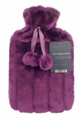 Faux Fur or Fleece Covered Hot Water Bottle 2L Various Designs